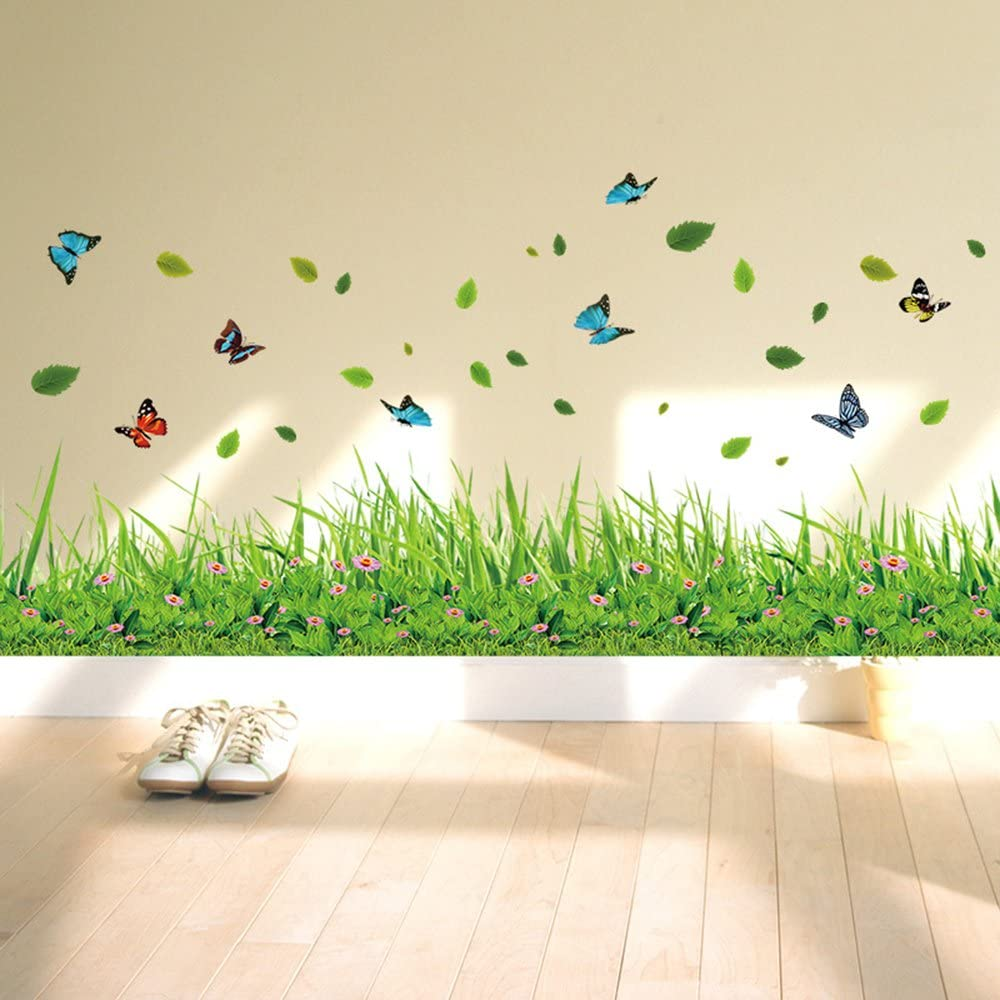 ufengke Green Grass Flowers Butterflies Wall Decals, Living Room Bedroom Baseboard Removable Wall Stickers Murals