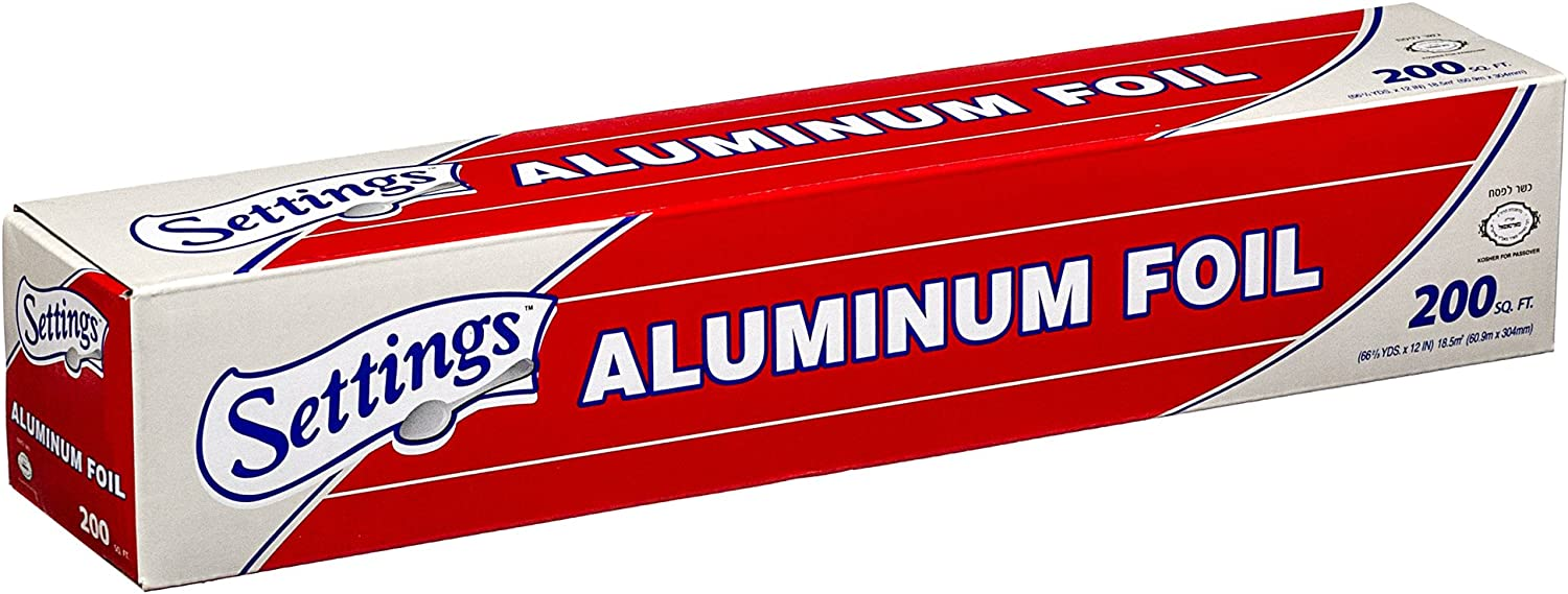 """Settings Aluminum Foil, 12"""" X 200 Feet, Silver Paper Wrap, Great For Cooking Baking Roasting Or Bbqing, Home Or Commercial, Keeps Food Fresh And Prevents Freezer Burn On Your Foods"""