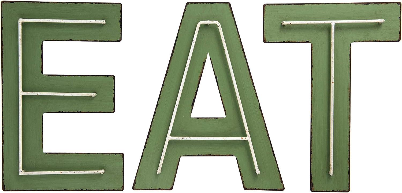 Creative Co-op Eat Metal (Set of 3 Styles) Wall Décor, Green