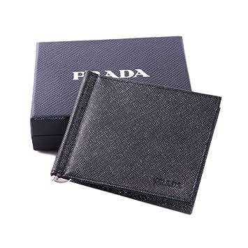 5fdd15e0 Prada Mens Bi-fold Wallet with Money Clip Saffiano Black Leather ...