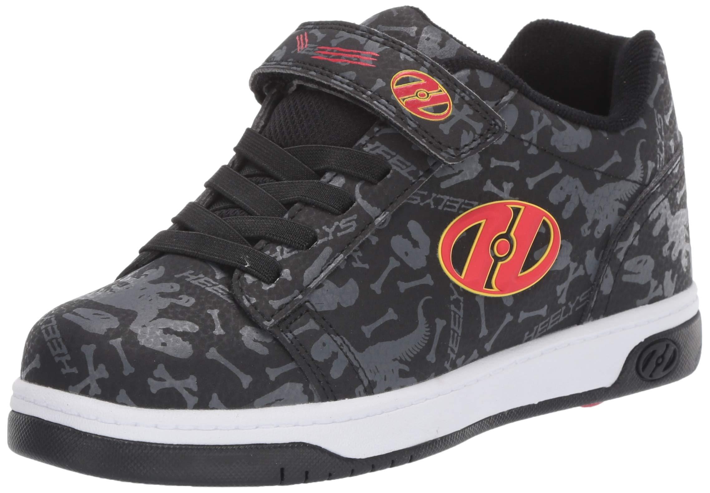 Heelys Boys' Dual Up X2 Tennis Shoe, Black/Grey/RED/Dino, 1 M US Little Kid