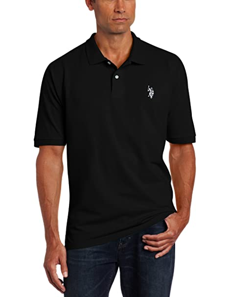 U.S. Polo Assn. Men's Solid Pique Shirt, Black/White, Small
