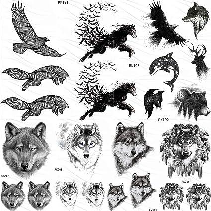 Etiqueta Engomada Del Tatuaje Temporal Sleeves Eagle Bird Lobo ...
