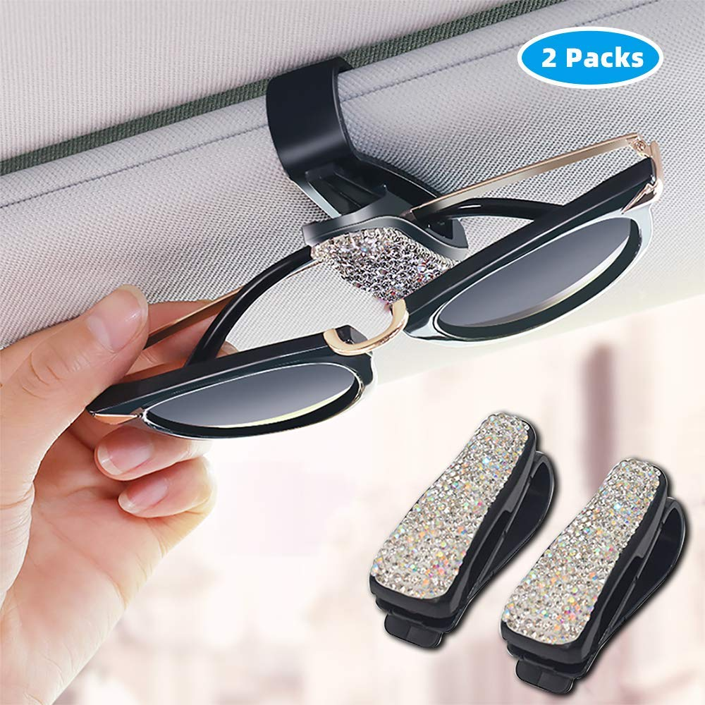 Glasses Holders for Car Sun Visor 2 Pack Bling Bling Diamond Sunglasses Eyeglasses Mount with Ticket Card Clip