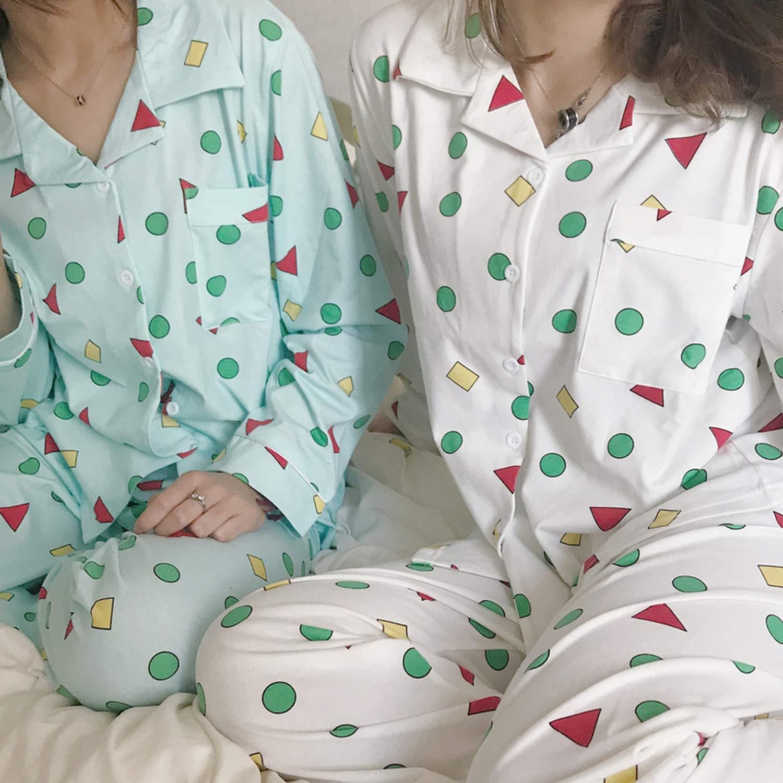 TYS-apparel-accessories Women Autumn Spring Pijamas Cotton Pajamas Set Kawaii Japanese Korean Style Crayon Shin Chan Pyjamas