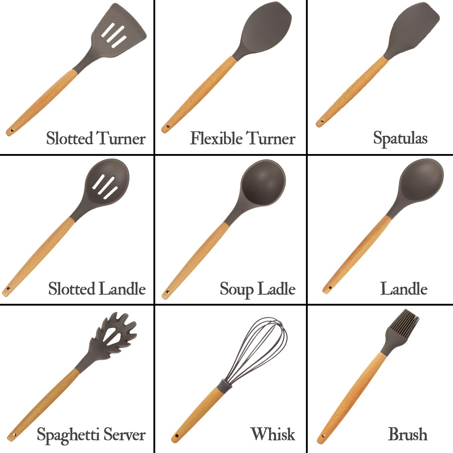K Kwokker 11 Pieces Silicone Cooking Utensils Kitchen Utensil Set Baking Wooden Utensils Set for Nonstick Cookware,BPA Free Non Toxic Turner Tongs Spatula Spoon Set for Home Kitchen Gadgets Tools