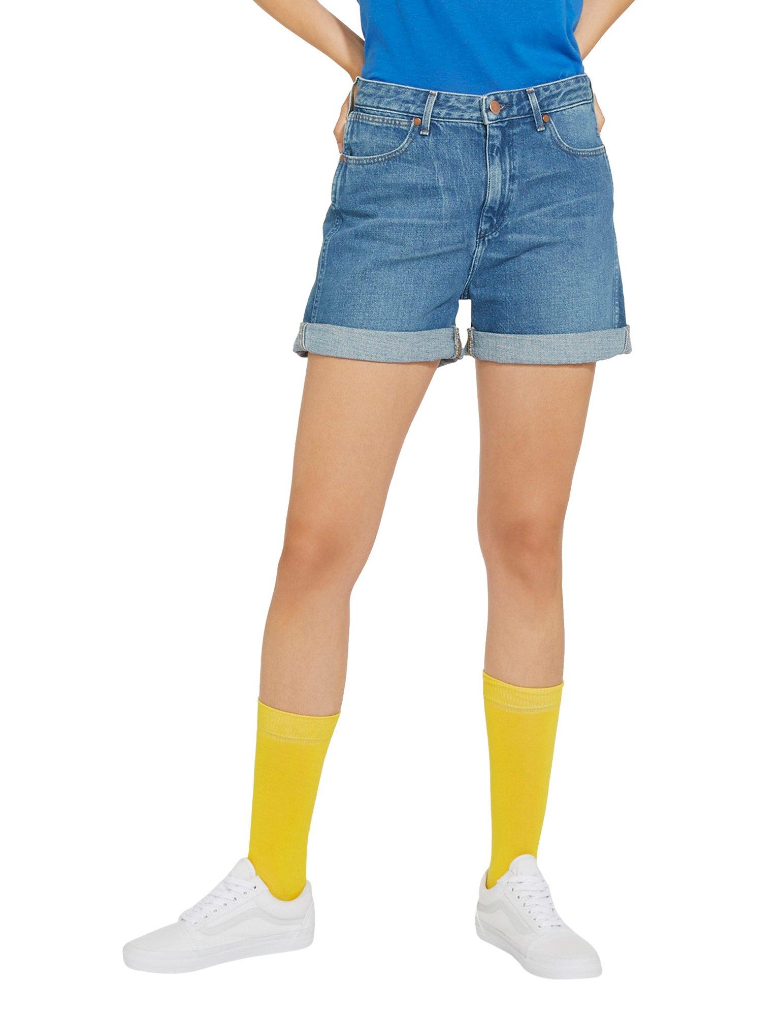 Wrangler Women's B&Y Retro Women's Blue Denim Boy Shorts In Size S Blue