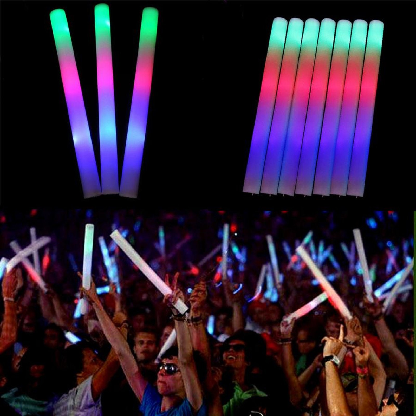 100 Pack of 18 Inch Multi Color Flashing Glow LED Foam Sticks, Wands, Batons - 3 Modes Multi-Color - Party Flashing Light DJ Wands, Concert, Festivals, Birthdays, Party Supplies, Weddings, Give Aways by JY Premium (Image #1)