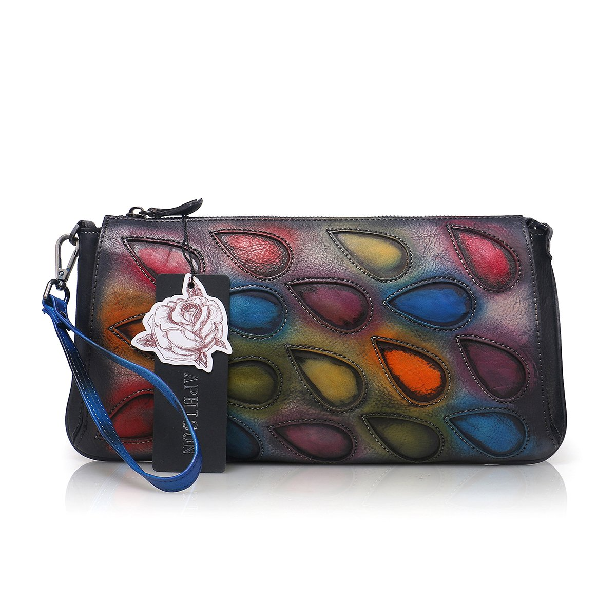 APHISON Peacock Feathers Clutch Purse Women's Leather Long Style Wristlets Wallets (Colorful)