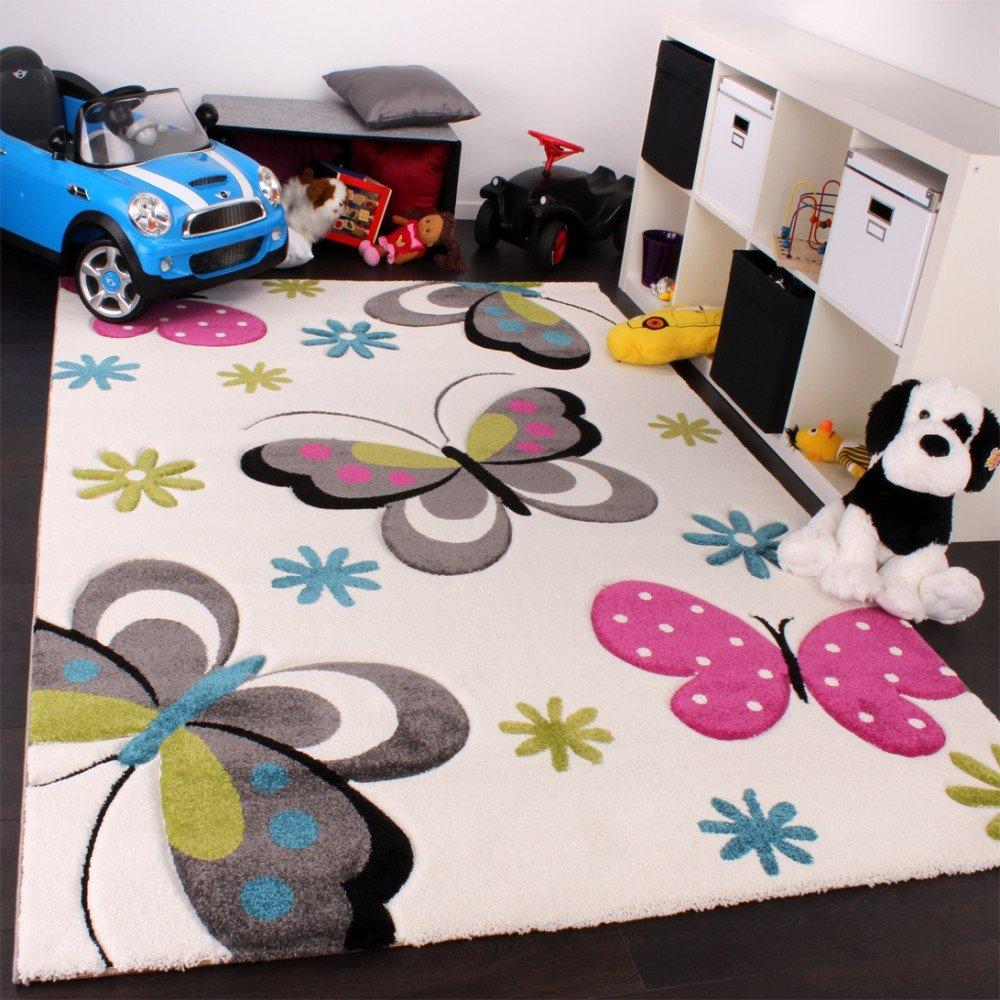 Paco Home Kinder Teppich Schmetterling Design Pink Grün Blau Grau Creme, Grösse:140x200 cm