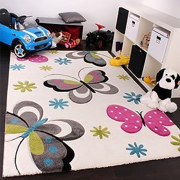 Paco Home Kinder Teppich Schmetterling Design Pink Grun Blau Grau