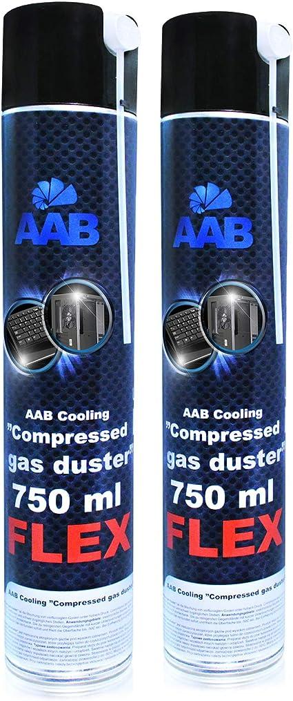 AABCOOLING Compressed Gas Duster FLEX 750ml - Conjunto de 2 - Spray con un Tubo Flexible, Limpiar PC y Televisiones, Spray de Aire Comprimido, ...