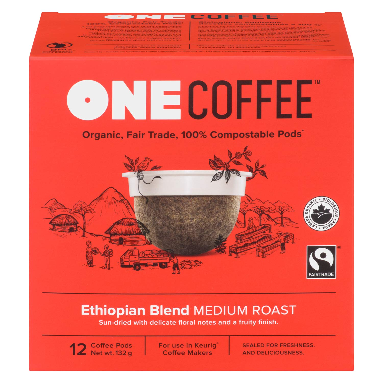 CDM product OneCoffee Organic Ethiopian Blend 72 Count Single Serve Coffee Keurig K-Cup Brewers - Medium Roast big image