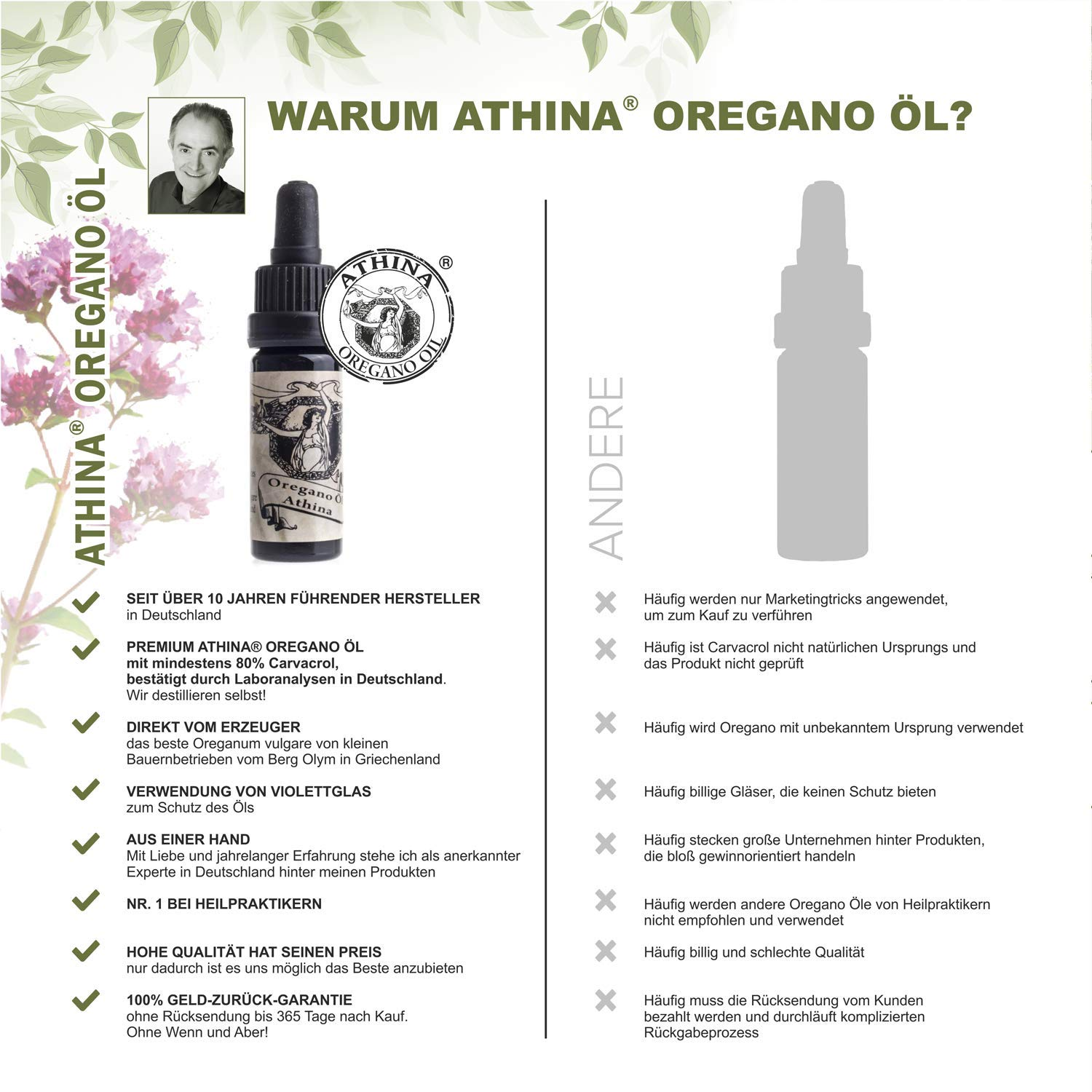 Organic Athina Oregano Oil 100 Essential Oregano Vulgare Oil From Greece 80 Carvacrol 1 X 10 Ml