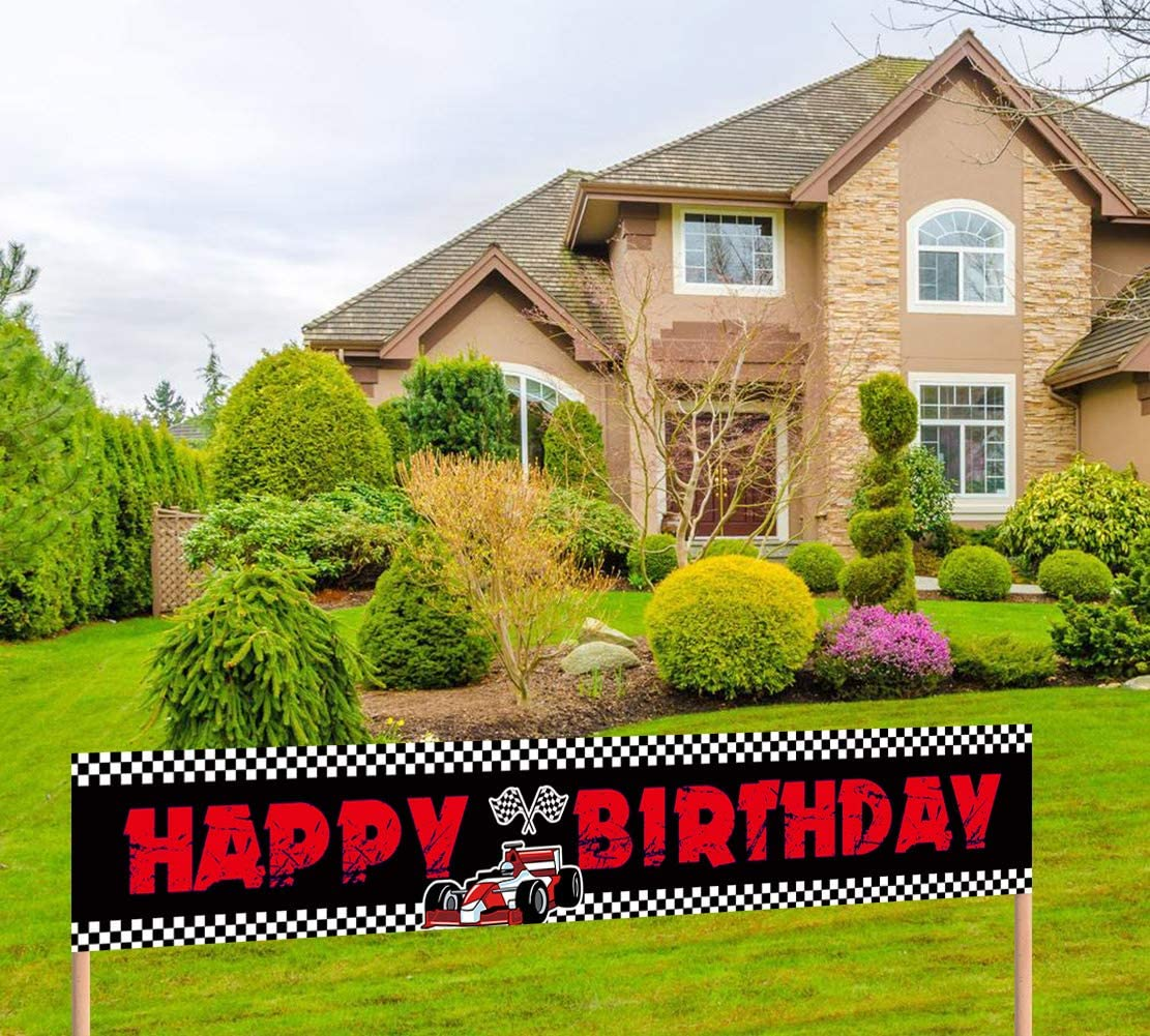 Large Race Car Happy Birthday Banner Racecar Birthday Party Sign Let's Go Racing Race Car Birthday Party Supplies Kids Race Fans Decoration (9.8 x 1.6 feet)