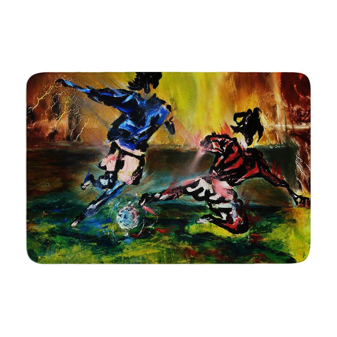 Kess InHouse Josh Serafin Slidetackle Soccer Memory Foam Bath Mat 17 by 24