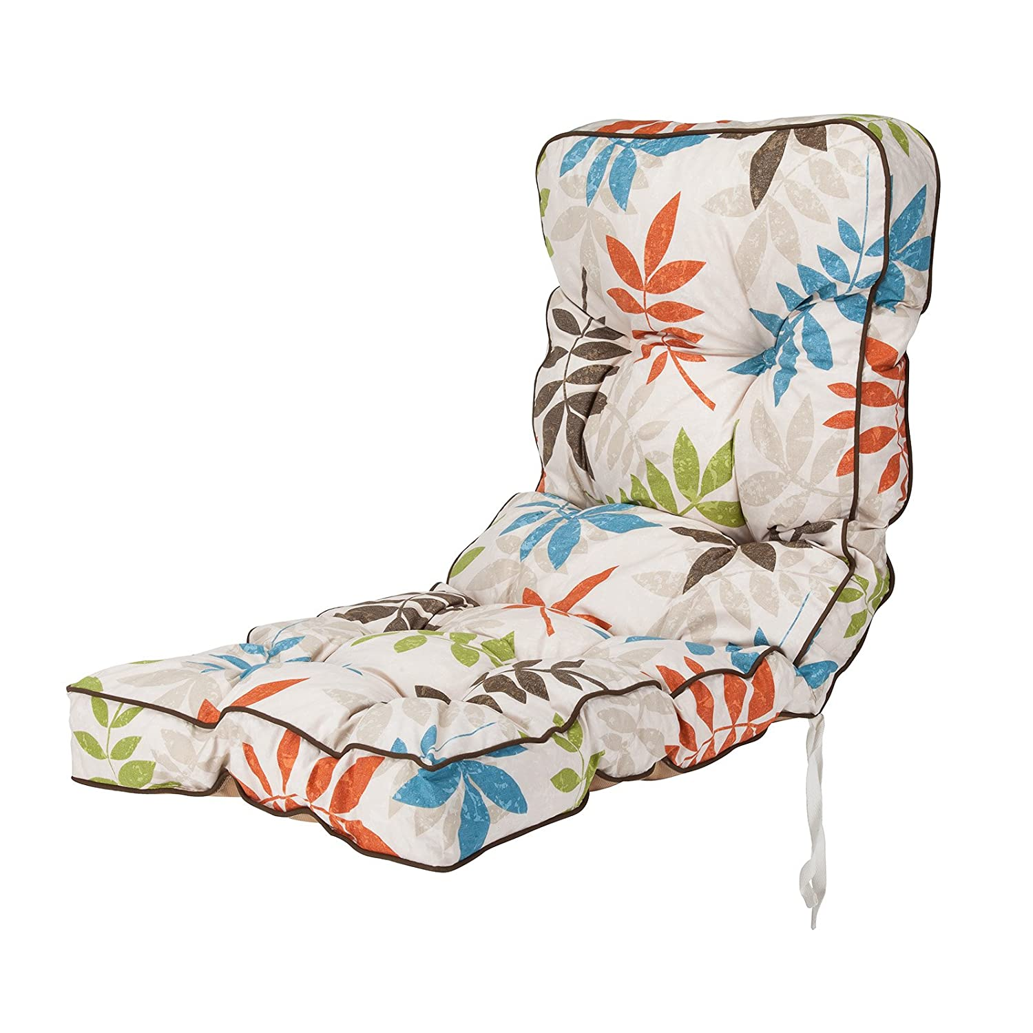 Replacement Classic Outdoor Garden Recliner Chair Cushion - Choice of Prints (Green) Alfresia