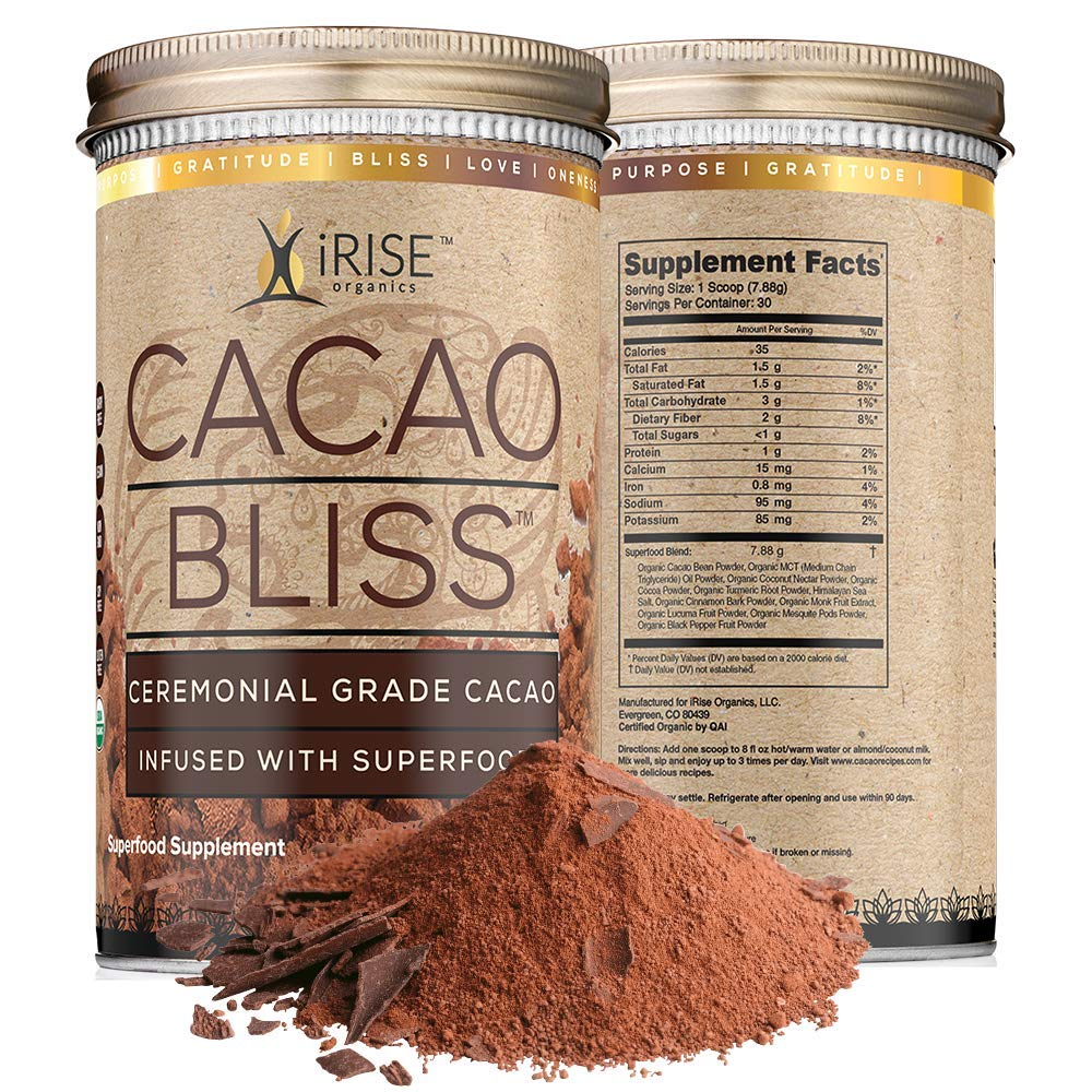 Cacao Bliss: Superfood Powder - 30 Day Supply - Organic Superfood Supplement - Raw Cacao Superfood - Boosts Metabolism - Satisfies Chocolate Cravings - Vegan by Cacao Bliss