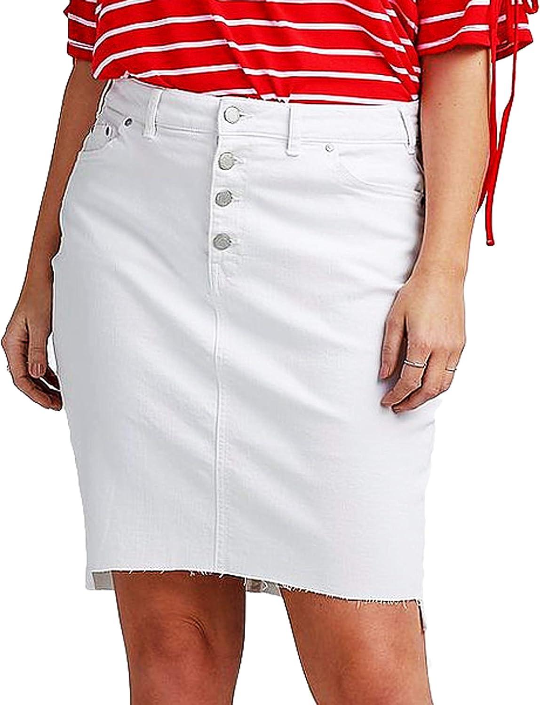 Falda Vaquera de algodón Blanco para Mujer, Talla Grande, Tallas ...