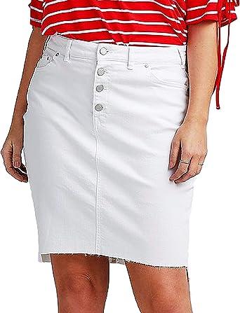 Falda vaquera de algodón blanco para mujer, talla grande, tallas 26 – 34 EU 52 – 60: Amazon.es: Ropa y accesorios