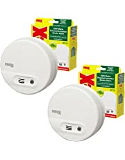 2 x Kidde Firex KF10 (4870) Mains Smoke Alarm Ionisation Sensor with 9V Built in Battery Back Up / Test and Hush Button