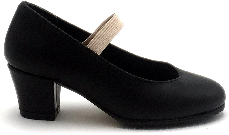FLAMENKITAS Calzado de Danza para Mujer Zapatos Flamenca Goma Hecho EN España Principiante Color Negro