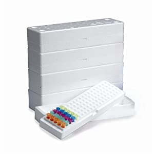 Heathrow Scientific HS4282 Microtube Storage Box Eps 100-Place, White (0), Fluid_Ounces, Degree C, Polystyrene, (0)