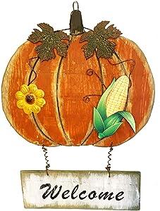 "YUMBOR Hanging Wood Pumpkin Welcome Sign,Decorative Harvest Pumpkin Decoration,17"" H,Fall Autumn Door Wall Thanksgiving Halloween Decoration"