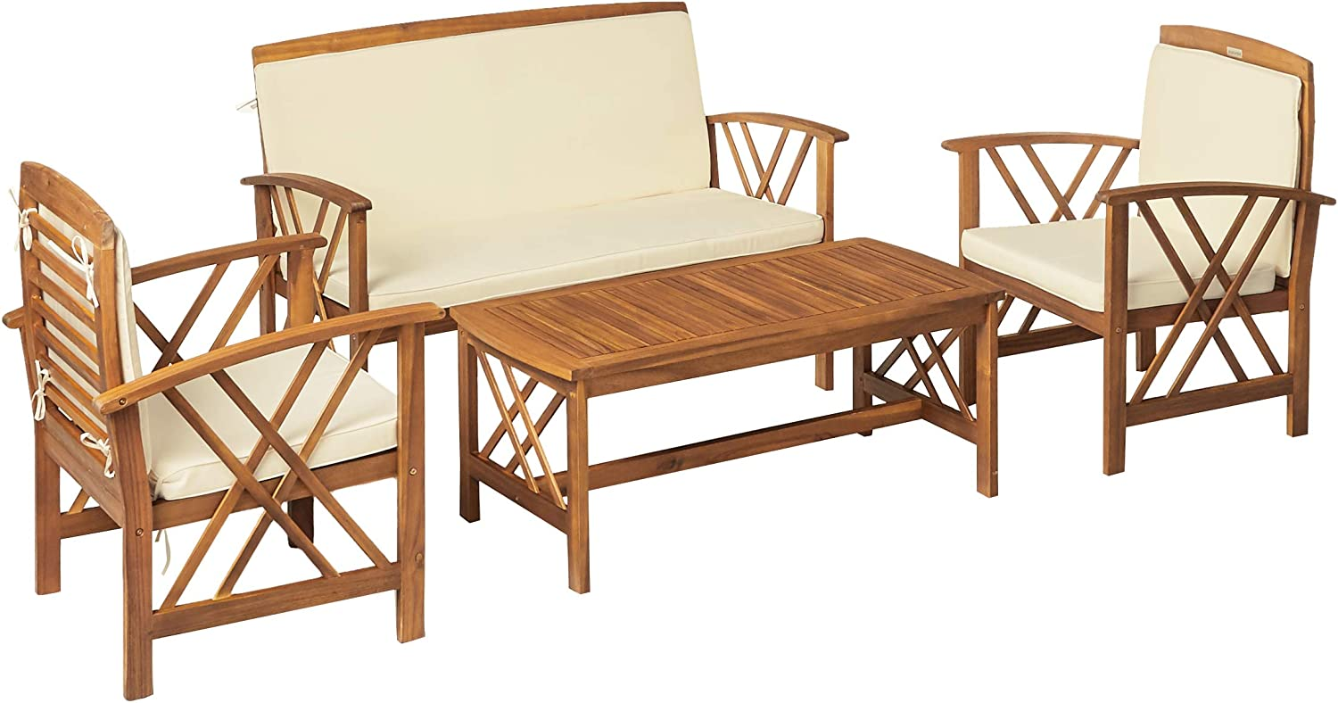 Safavieh 4-Piece Outdoor Collection Fontana Patio Set: Kitchen & Dining