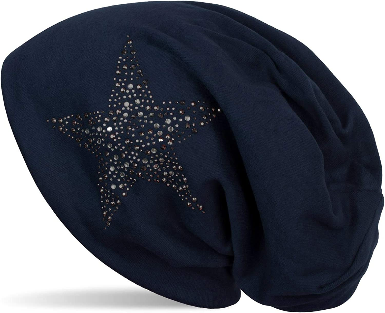 styleBREAKER Gorro Beanie con Estrellas Strass y Piedras Preciosas en Tonos Plata-Antracita, Gorro Slouch Beanie Largo, Unisex 04024087