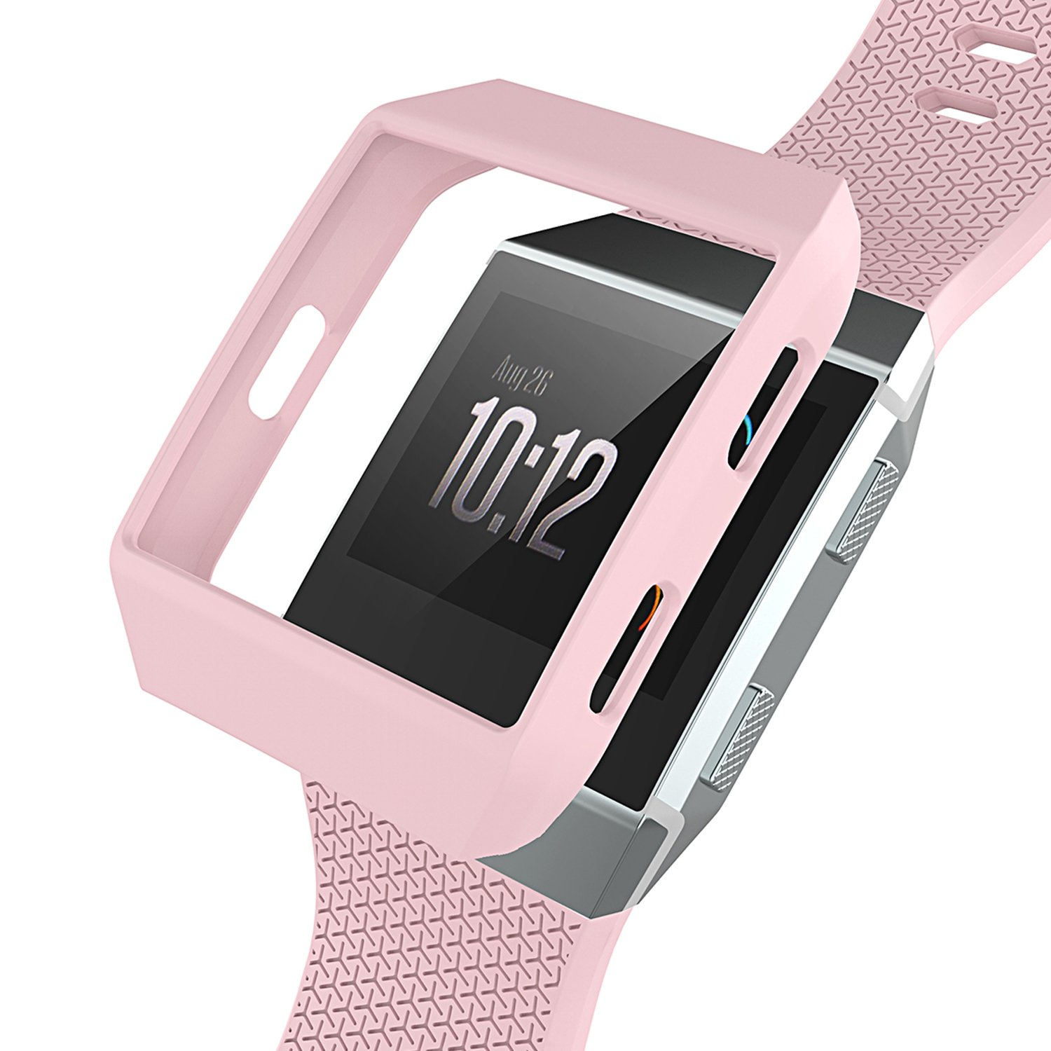 Fitbit Ionic Case Replacement Accessories Slim Rugged Cover Shock Proof Frame Protector for Fitbit Ionic Smartwatch Light Pink