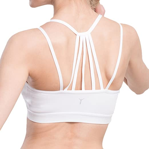 c4330c15498 AIYIHAN Women s Sexy Strappy Wirefree Yoga Sports Bra Support Workout  Padded Running Bra XS White