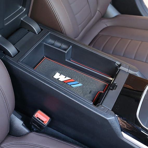 Caja de almacenamiento para reposabrazos de consola central de coche para 3 series G20 G38 325 a/ños 2019 2020 con colorido logotipo M DIYUCAR