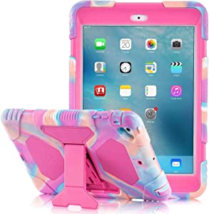 iPad Mini Case [iPad Mini 3 Case][iPad Mini 2 Case] Full Body [Shock Proof for Kids Case]Three layers Armor Shockproof Drop Protection Cover Case Built with Kickstand for iPad Mini 1/2/3 7.9 Inch-Pink