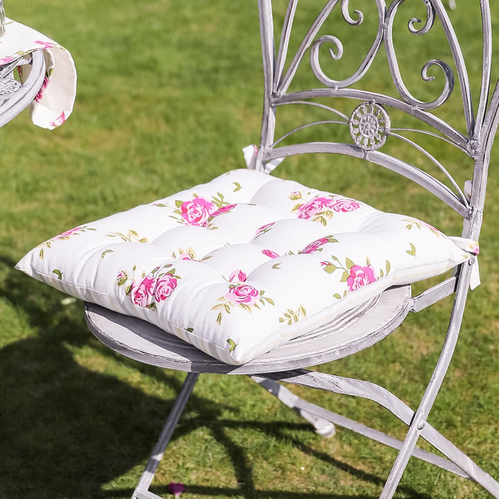 Dibor Set of 2 Vintage White Floral Print Cotton Outdoor Filled Seat Pads with Ties