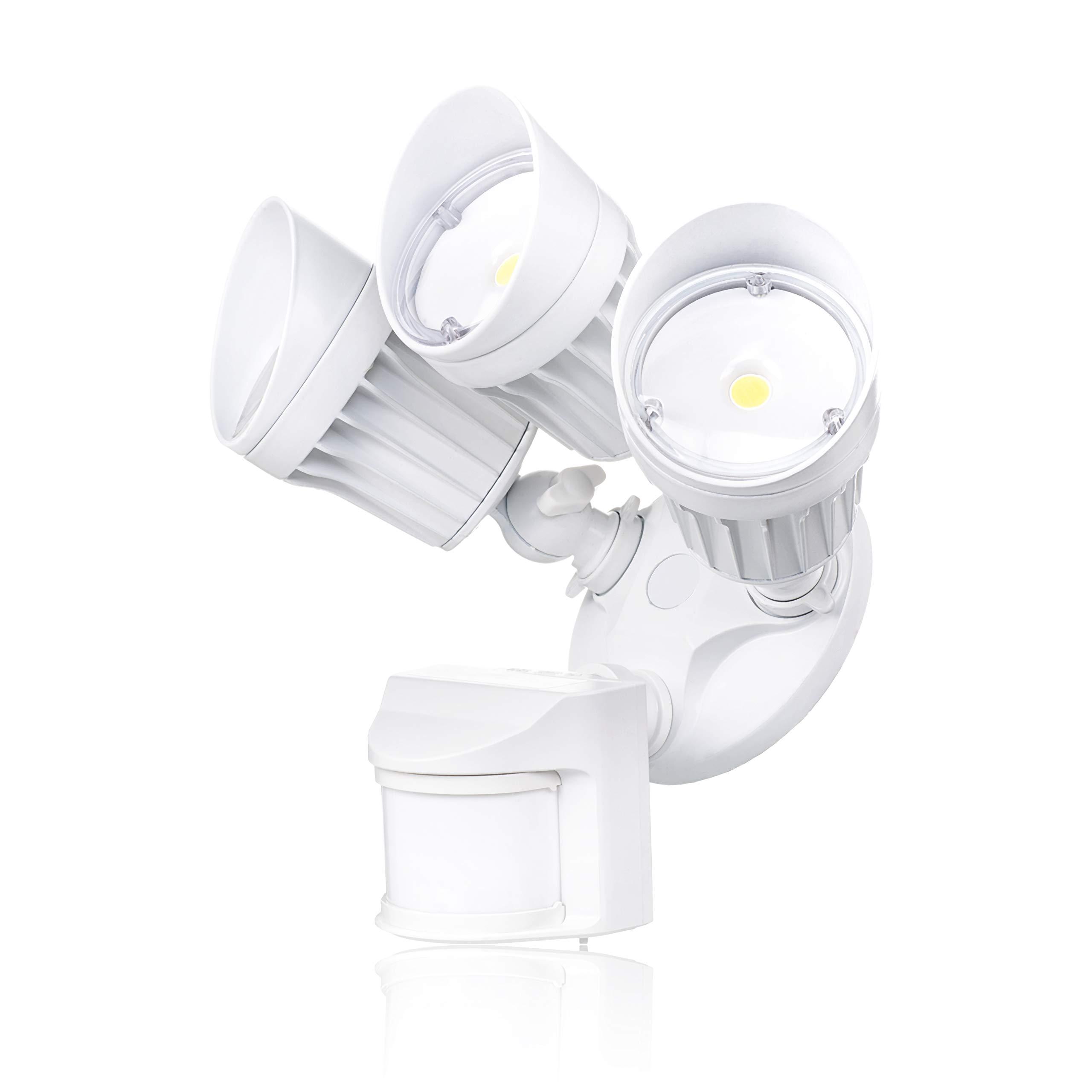 Parmida LED Security Light, White, 30W (250W Replacement), Outdoor Motion Sensor Light & Dusk to Dawn Photocell, 3 Adjustable Heads, 2250LM, 5000K (Day Light), Waterproof, ETL & DLC, 120V