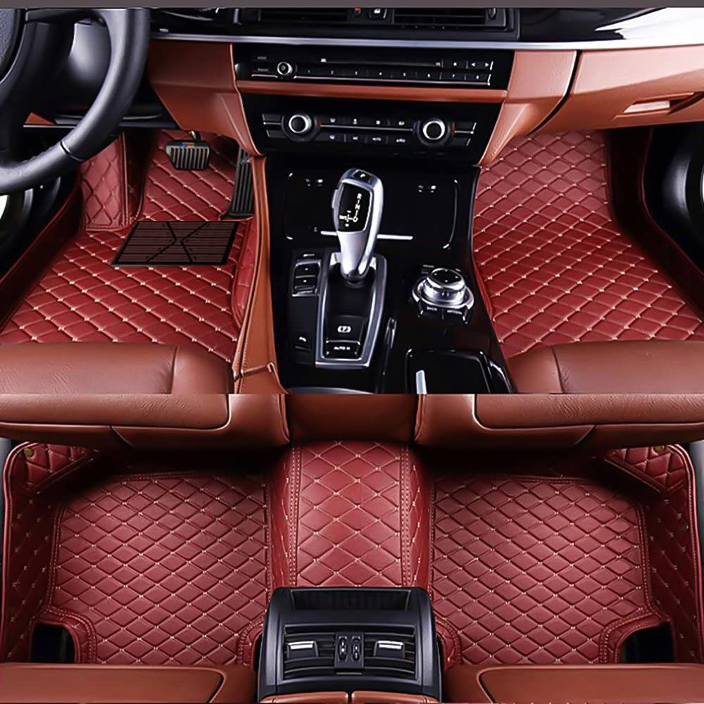 VENMAT Car Floor Mats Custom Made for Alfa Romeo Giulia 2017-2019 Foot Carpets Faux Leather All Weather Waterproof 3D Full Surrounded Anti Slip Mat (Wine Red)