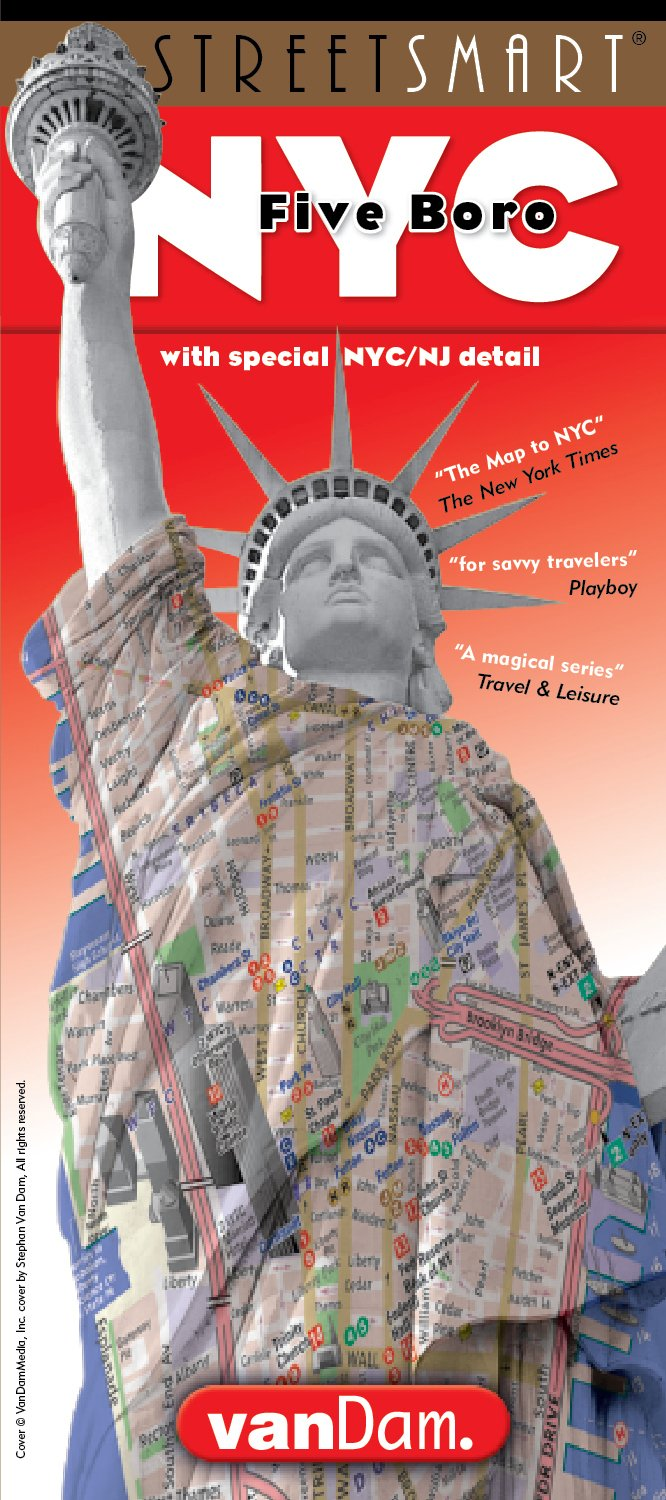 NYC Five Boro Map by VanDam-Laminated pocket city street map w/ attractions in all 5 boros of NY City: Manhattan, Brooklyn, Queens, The Bronx & St Island w/ new Subway Map, 2017 Edition (Streetsmart)