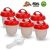 GESUNDHOME Egg Cooker Set de 6 - Silicona Hervidor de Huevos Antiadherente Pasado por Agua y Cocido Cocedor sin el Cáscara (Rojo)