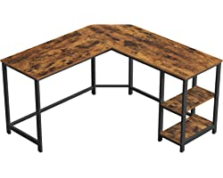 VASAGLE Computer Desk, 54-Inch L-Shaped Corner Desk, Writing Study Workstation with Shelves, Home Office, Industrial Style PC