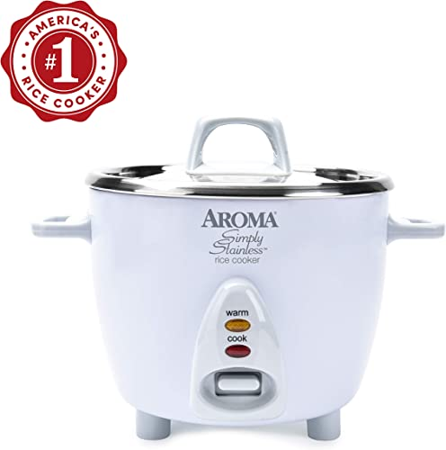 Aroma Simply Stainless 3-Cup(Uncooked) 6-Cup (Cooked) Rice Cooker, White