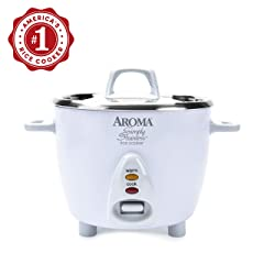 Aroma Simply Stainless Rice Cooker White Cooks 3 cups of uncooked rice