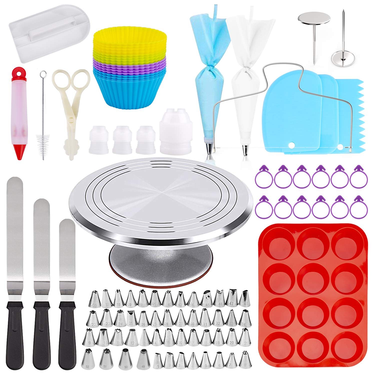 Omew Cake Decorating Supplies Kit, 145 pieces - Aluminium Rotating Stand, Disposable and Reusable Piping Bags, Silicone Cupcake Molds, Cake Scrapers, Spatulas & Many More Decoration. by Omew