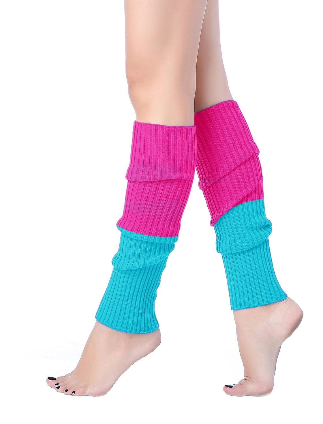 V28 Women Juniors 80s Eighty's Ribbed Leg Warmers for Party Sports