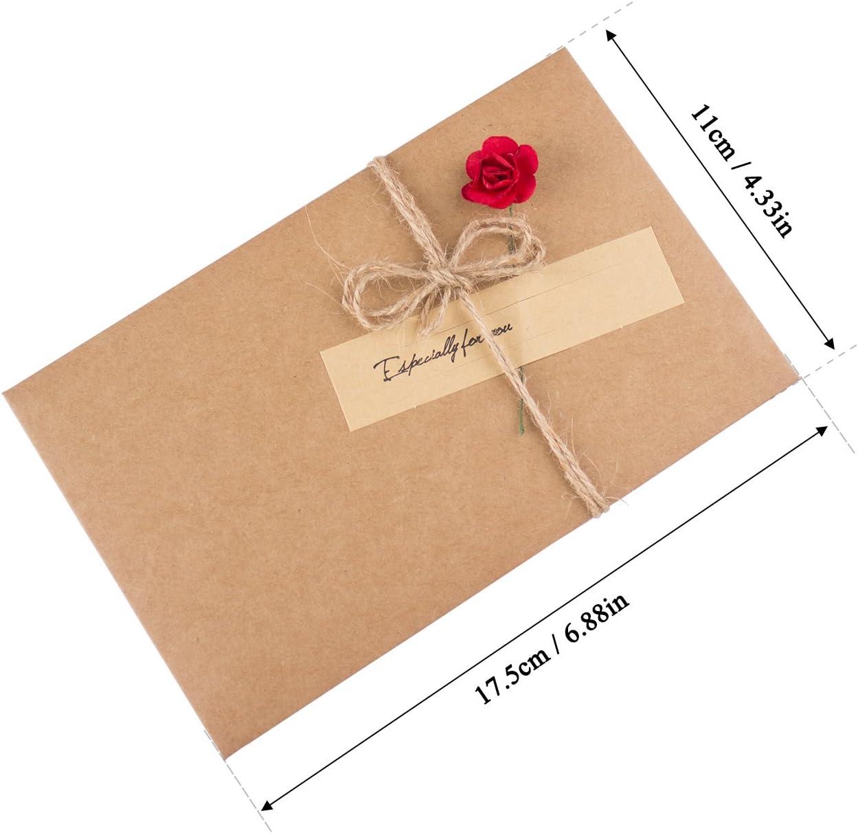 Retro Kraftpapier-Leere Umschl/äge Ewiges Leben Getrocknete Blumen Verzierte Postkarte Unbelegte Anmerkungs-Karten-Set, Danksagungskarten 9 Umschl/äge und Kleber Aufkleber ZeWoo Set von 9 Gru/ßkarte