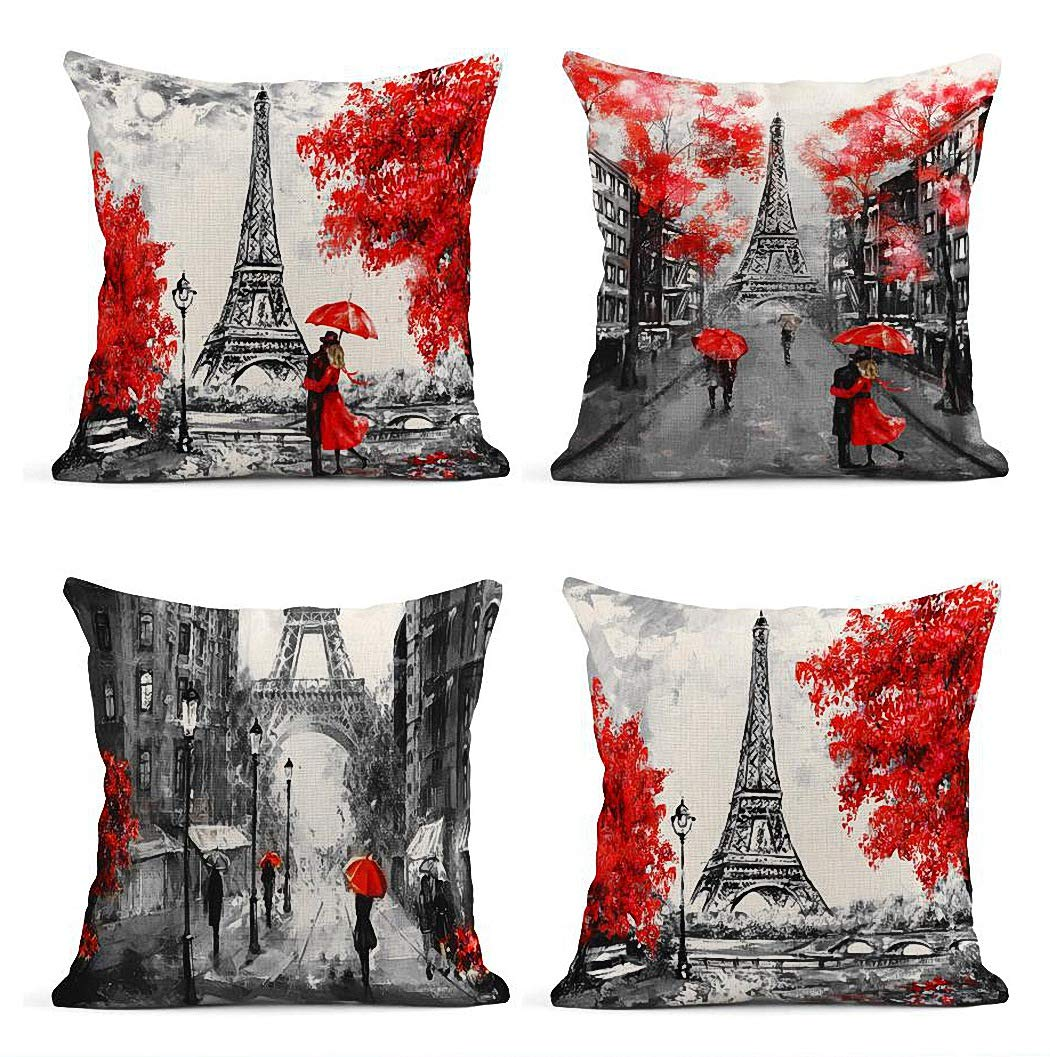 ArtSocket Set of 4 Throw Pillow Covers Oil Painting Paris European City Landscape France Eiffel Tower Black Decor Linen Pillow Cases Home Decorative Square 18x18 Inches Pillowcases