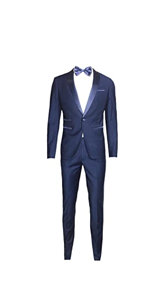 fc81b59e50c8 Moda Classica Abito Uomo Blu Super Slim Smoking Vestito Elegante Cerimonia  Comunione Matrimonio (Calza Stretto