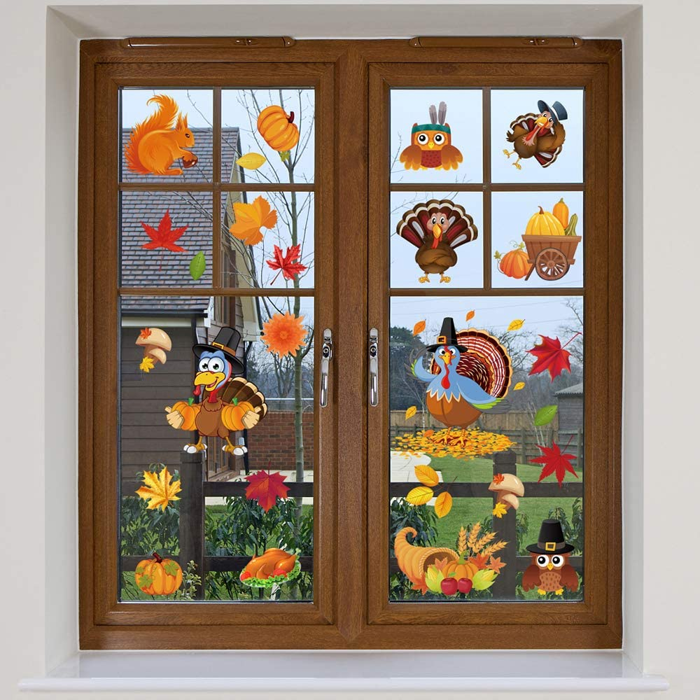 6 Sheets Thanksgiving Fall Window Clings Thanksgiving Window Stickers Decorations Turkey Pumpkin Farmhouse Decor for Home Glass Window Thanksgiving Outdoor Indoor Party Decoration Ornaments Supplies