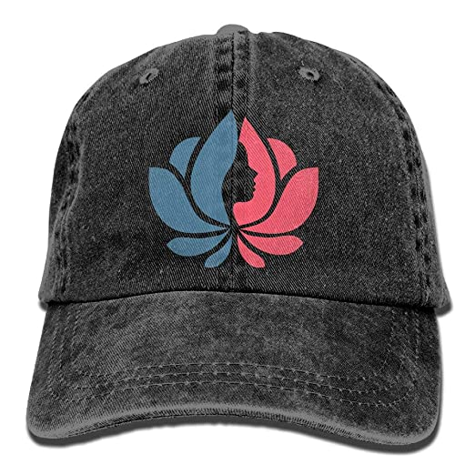 Lotus Flower with Lady Face Unisex Vintage Cotton Denim Baseball Cap Washed  Adjustable Trucker Dad Hat 910ab9b8a7cc