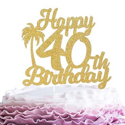 Decoración para tarta de 40 cumpleaños con purpurina dorada ...